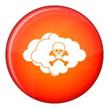 Cloud with skull and bones icon, flat style Royalty Free Stock Photos