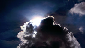 Cloud on the sky covering the sun. Moving clouds over the sky hiding and covering the sun from time to time, creating interesting contrasts of light, colours royalty free stock photo