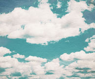 Cloud and sky on grainy paper. Stock Images