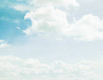 Cloud and sky on grainy paper. Royalty Free Stock Photos
