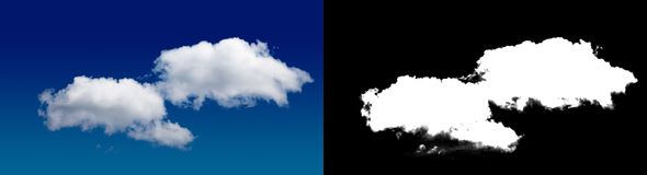 Cloud in the sky. A halftone clipping mask for gently carving out the cloud. Source material for use in design Stock Images