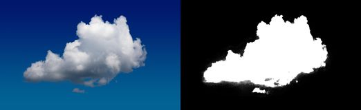 Cloud in the sky. A halftone clipping mask for gently carving out the cloud. Source material for use in design Royalty Free Stock Images