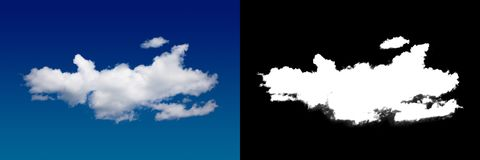 Cloud in the sky. A halftone clipping mask for gently carving out the cloud. Source material for use in design Stock Photography