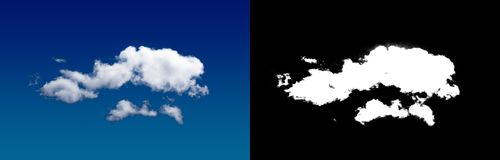 Cloud in the sky. A halftone clipping mask for gently carving out the cloud. Source material for use in design Royalty Free Stock Photo