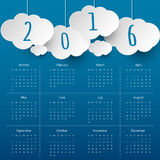 Cloud and Sky 2016 Modern calendar template .Vector.  Royalty Free Stock Image