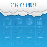 Cloud and Sky 2016 Modern calendar template .Vector.  Royalty Free Stock Photo