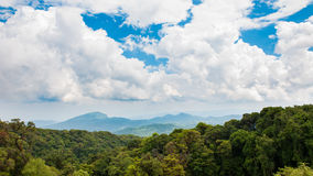 Cloud sky over the forest. Fantastic cloudy sky over the rainforest in north of thailand Royalty Free Stock Image