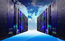 Cloud and sky overlay with servers computing technology in datacenter creative concept. Cloud and sky overlay with servers computing technology in datacenter royalty free stock photos