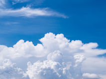 Cloud and sky. Perspective unique beautiful white cloud in blue sky Royalty Free Stock Photos