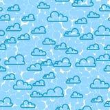 Cloud sky seamless pattern. Cartoon weather background. Stock Photo