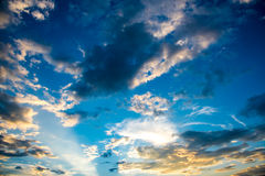 Cloud and sky with sun beam light , amazing cloud photo of count Stock Photo