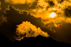 Cloud sky sunshine in orange view Stock Photography