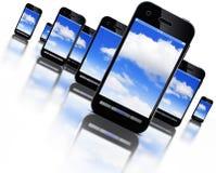 Cloud and smartphones. 3D illustration of cloud computing an smartphones Stock Image
