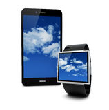 Cloud smartwatch and smartphone Royalty Free Stock Photography