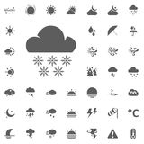 Cloud and snow flakes icon. Weather vector icons set Royalty Free Stock Photography