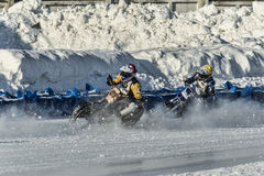 In the cloud of snow. Russia. The Republic Of Bashkortostan. The Ufa. Racing on ice. The Championship Of Russia. A final . February 1, 2014 Stock Image