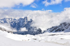 Cloud & Snow on Zugspitze. Clouds & snow on Zugspitze with view of ski area Stock Images