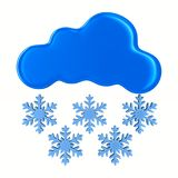 Cloud and snowflake on white background. Isolated 3D illustratio. N Stock Photos