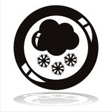 Cloud with snowflakes button Stock Photo