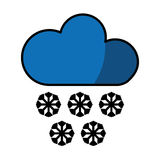 Cloud with snowflakes climate sign isolated icon Royalty Free Stock Photos