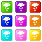 Cloud and snowflakes icons 9 set Royalty Free Stock Photography