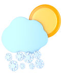 Cloud with snowflakes and sun Stock Photos