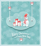 Cloud with snowman gifts bells Royalty Free Stock Image