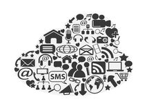 Cloud social media icons set stock illustration