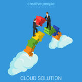 Cloud solution business technology flat 3d vector isometric Royalty Free Stock Photos