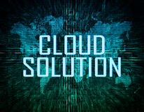 Cloud Solution. Text concept on green digital world map background Stock Photo