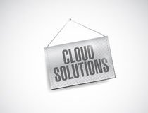 Cloud solutions hanging banner illustration Stock Photos