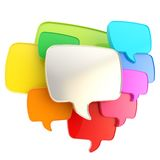 Cloud of speech text bubbles as copyspace plate isolated. Cloud group of speech text bubbles composition chrome metal and colorful rainbow colored plastic as Stock Photo