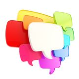 Cloud of speech text bubbles as copyspace plate isolated. Cloud group of speech text bubbles rainbow colored composition as copyspace banner plate isolated on Stock Image