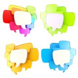 Cloud of speech text bubbles as copyspace plates isolated Stock Photos