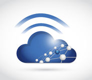 Cloud sphere network and wifi signal sign. Illustration design over a white background Stock Images