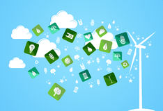 Cloud splash eco friendly icons Royalty Free Stock Image