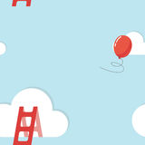 Cloud, stair and balloon. Concept of freedom Royalty Free Stock Images