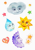 Cloud, star, raindrop and moon, watercolor painting, naive drawing with smiling faces Stock Image