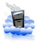 Cloud storage. A file cabinet in the clouds with binary flowing from top drawer.  Concept for storage in the technology cloud Stock Photography