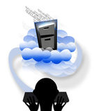 Cloud storage. Silhouette of a person using technology storage in the cloud Stock Photos