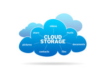 Cloud Storage. Blue Cloud Storage illustration on white background Stock Photos