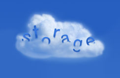 Cloud storage. Cloud with storage word on blue background royalty free stock image