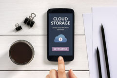 Cloud storage app concept on smart phone screen Royalty Free Stock Images
