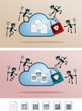 Cloud storage attacked by computer virus Royalty Free Stock Image