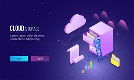 Cloud Storage based landing page design with skyscraper\'s view o. F man climbing on ladder to save or store data file folder Stock Photos