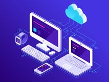 Cloud storage. Computer devices connected to data server. Laptop computers tablet and smartphone secure connection vector illustration