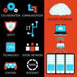 Cloud storage. And computer server. vector set Royalty Free Stock Images