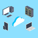 Cloud storage and computers isometric vector Stock Photography