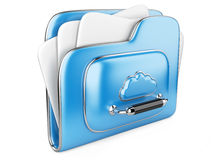 Cloud storage concept 3d icon. Data storage on servers in cloud. 3D image isolated on white Stock Image
