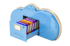 Cloud storage concept, 3D rendering. On white background Royalty Free Stock Photo